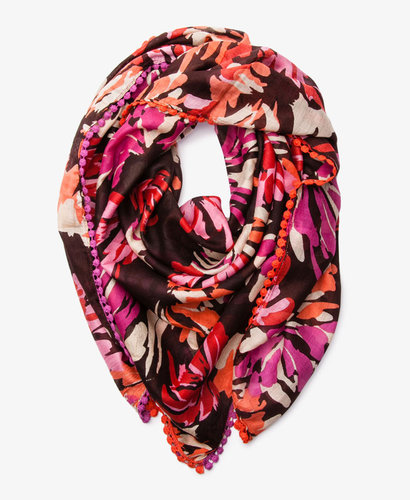 FOREVER 21 Abstract Floral Pom Pom Scarf