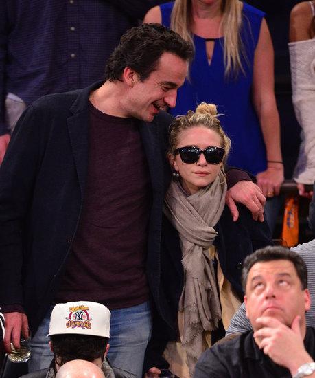 Mary-Kate Olsen and Olivier Sarkozy attended the Celtics and Knicks game in New York.
