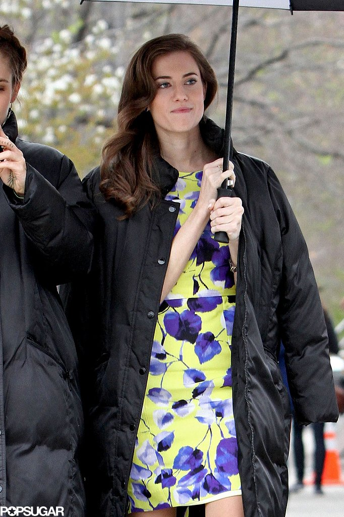 Allison Williams wore a Milly dress on set of Girls.