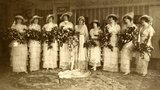 At this 1914 New York wedding, the bride had eight attendants who  wore gorgeous matching ensembles that almost look more elaborate than the bride's.  Source: Flickr user Bee Archives