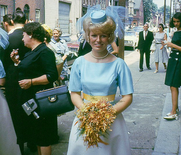 Check out this hat on this bridesmaid in the mid '60s. Source: Flickr user Willceau