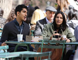 Dev Patel and Olivia Munn took a seat in an NYC park to film scenes for their HBO series The Newsroom on Wednesday.