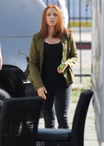 Scarlett Johansson showed off her new red hair in LA while shooting Captain America: The Winter Soldier on Tuesday.