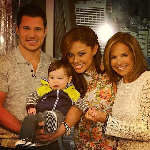 Nick and Vanessa Lachey made a stop on Katie Couric's talk show with their son, Camden. Source: Twitter user katiecouric