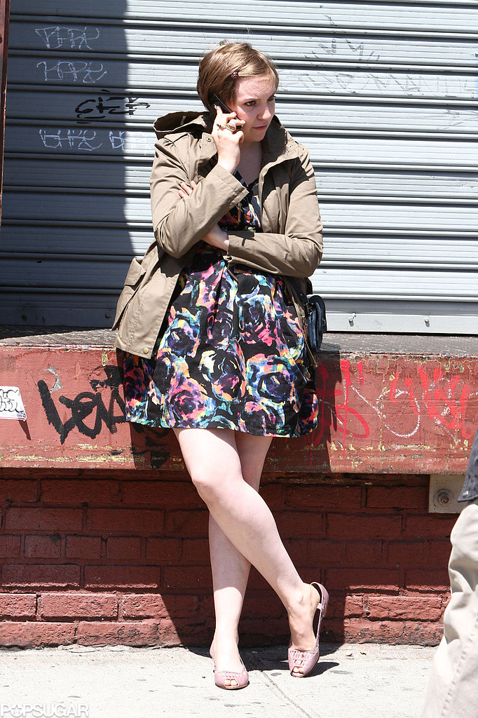 Lena Dunham chatted on her cell phone on the set of Girls in NYC.
