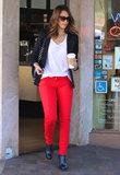 Jessica livened up her LA basics with a splash of red via Kate Spade jeans.