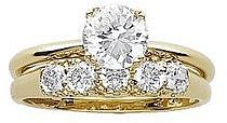 Gold Over Sterling Silver Cubic Zirconia Wedding Ring Set