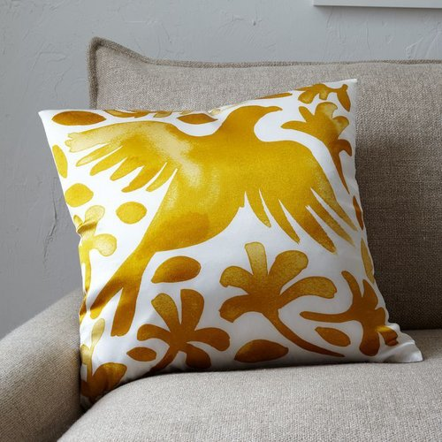 Paulina Reyes Silk Bird Pillow Cover - Yellow