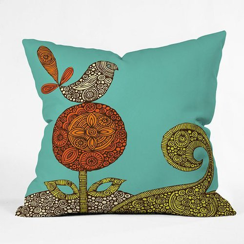 Deny designs valentina ramos bird in the flower decorative pillow