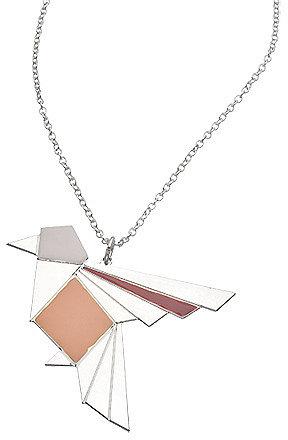 Shlomit Ofir Silver Origami Exotic Bird Necklace