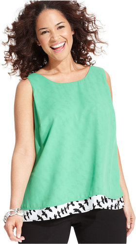Style&co. Plus Size Top, Sleeveless Printed Layered-Look