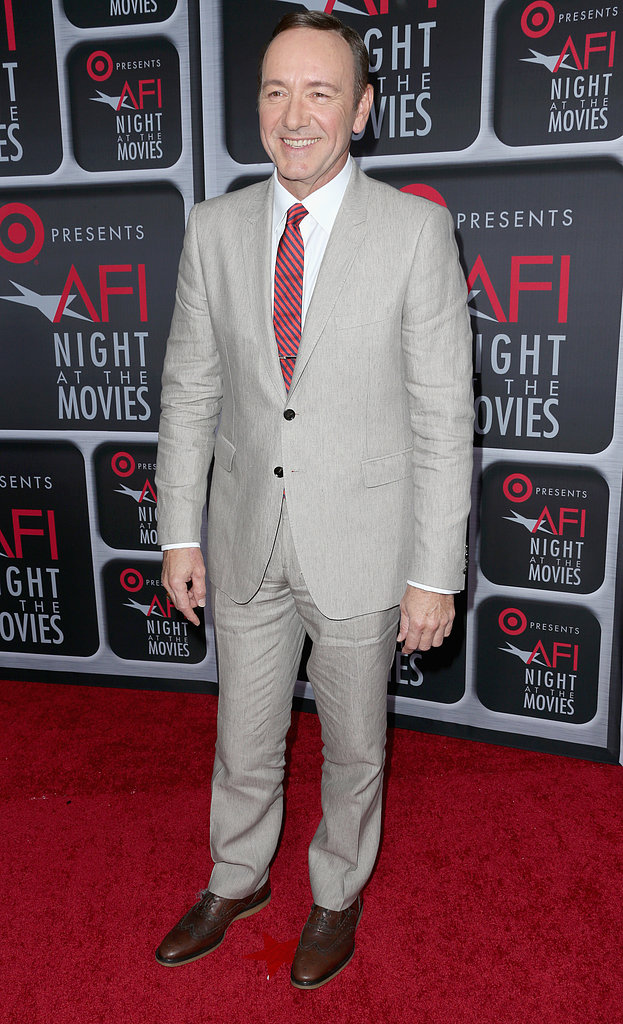 Kevin Spacey suited up in a light gray number.