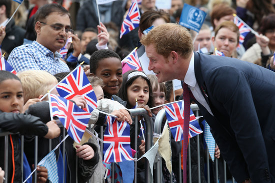 Prince Harry met with young children outside the brain injury association headquarters.
