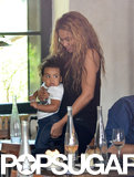 Beyoncé cradled baby Blue as they lunched in Paris in April 2013.