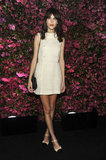 At the Chanel dinner during Tribeca Film Festival, Alexa Chung was chic in head-to-toe Chanel: an ivory tweed dress, two-tone pumps, and a black chain-handle bag.