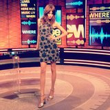 Alexa Chung showed off her stems in a minidress on the set of Fuse News. Source: Instagram user chungalexa