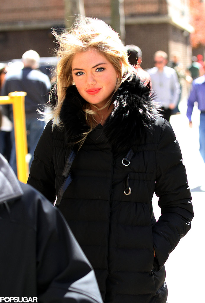 Kate Upton covered up on the NYC set of The Other Woman on Thursday.