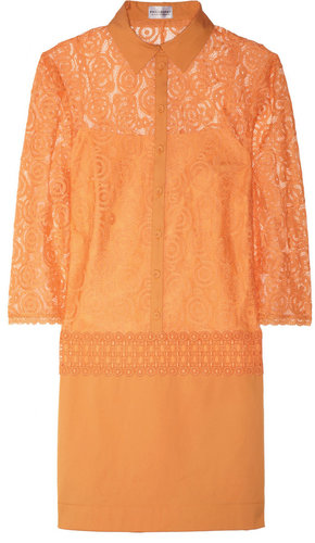 Philosophy di Alberta Ferretti Lace and cotton-blend shirt dress
