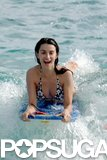 Penélope Cruz enjoyed some fun in the ocean during a trip to St. Barts in December 2006.