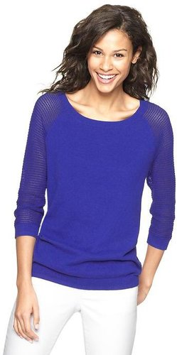 Mesh-sleeve sweater