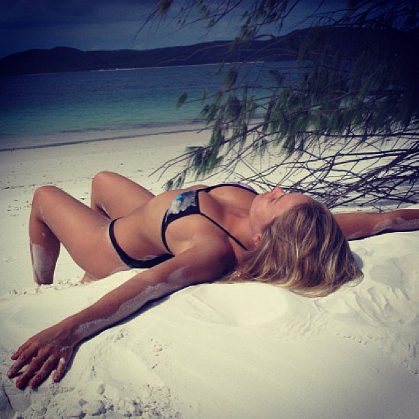 Lara Bingle relaxed in a bikini on gorgeous White Haven Beach. Source: Instagram user mslbingle
