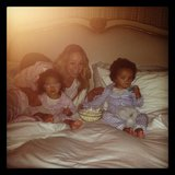 Mariah Carey had a full bed with Moroccan and Monroe for a family viewing of the Shrek series. Source: Instagram user mariahcarey