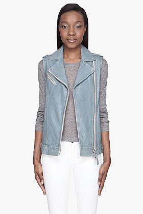 MACKAGE Pale blue Leather Perfecto Style Vest