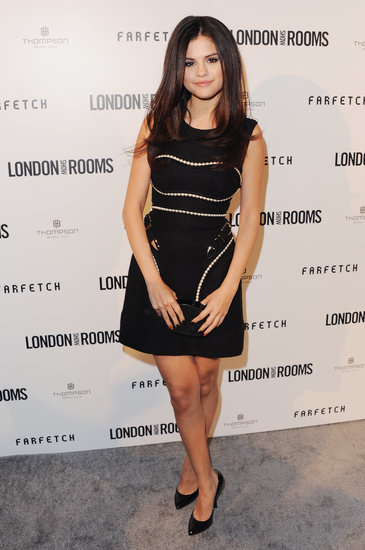Selena showed her sophisticated side for an April British Fashion Council event — we love her girlie-meets-sexy Marios Schwab pearl-embellished sheath, which she smartly paired with black heels and a Lauren Merkin Lucca clutch ($63).
