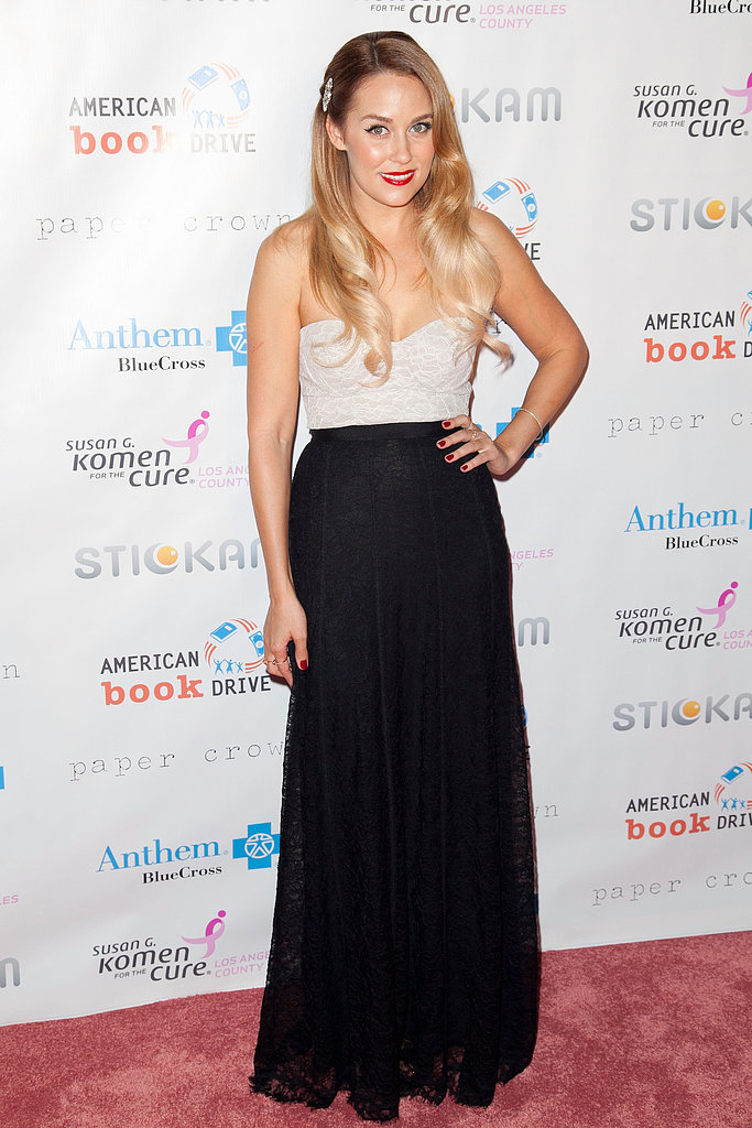 In 2012, Lauren exuded retro glamour in a black and white gown, red lip, and cascading curls, complete with jeweled hair pin, at the Susan G. Komen Foundation's Designs For the Cure Gala. Lesson from Lauren: colorblocking is always a hit.