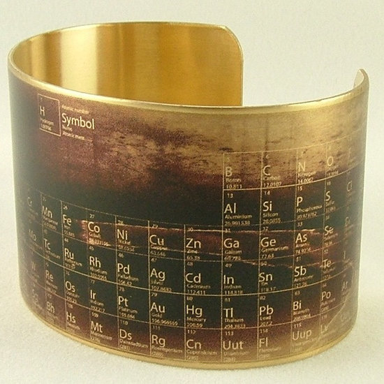 Your love of science just needs one more thing: accessories. This brass Periodic Table of Elements Cuff ($40) will patina nicely over time. But you already knew that, chemist!