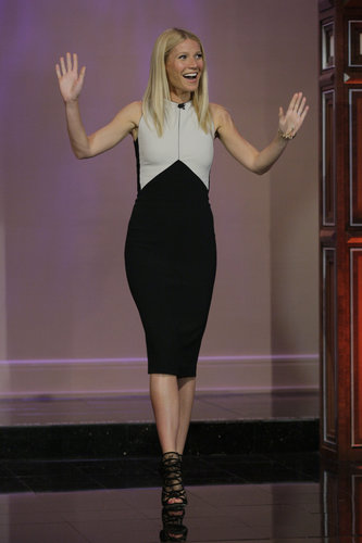 Gwyneth made an appearance on The Tonight Show in a sleek Narciso Rodriguez sheath and black lace Jimmy Choo booties.