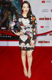 Kat Dennings wore Dolce & Gabbana at the Iron Man 3 premiere in Los Angeles.
