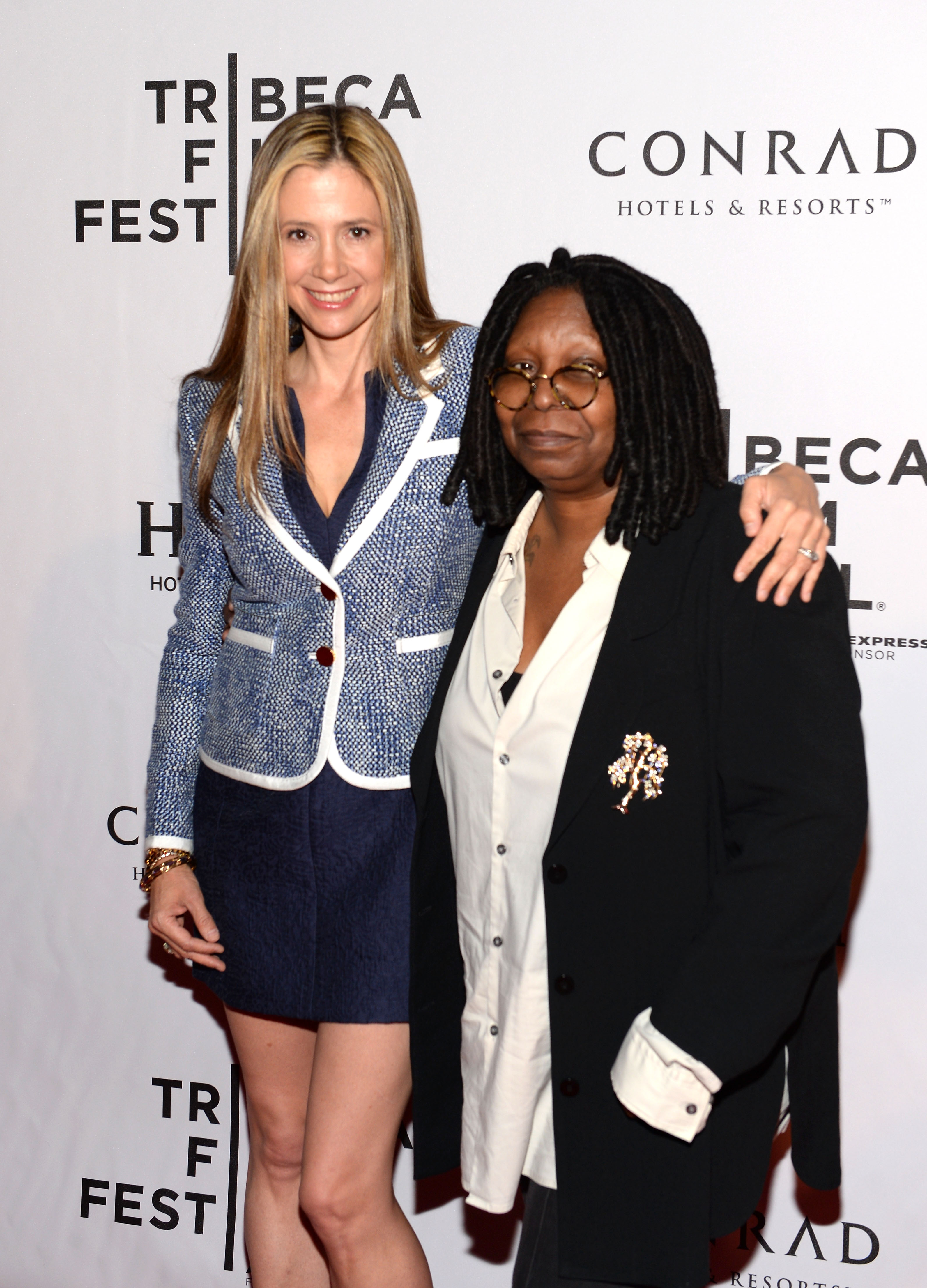 Whoopi Goldberg posed with Mira Sorvino on the red carpet at a Conrad Hotels event during the festival.