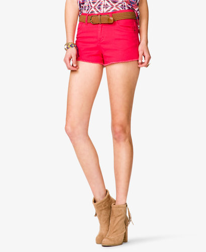 FOREVER 21 Colored Denim Cutoffs w/ Belt