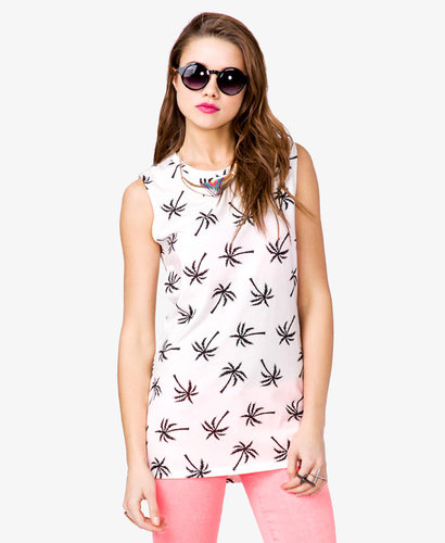 FOREVER 21 Palm Tree Cutout Top