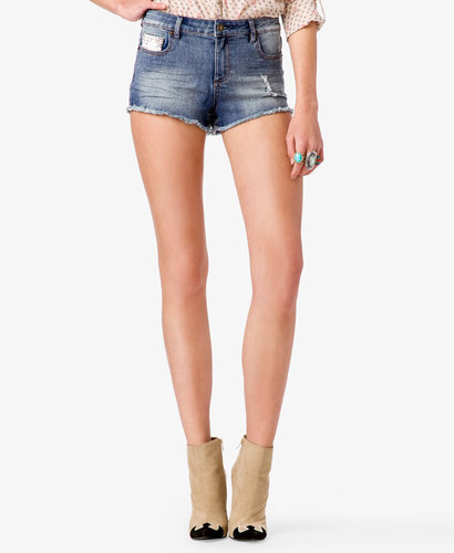 FOREVER 21 Embroidered Denim Shorts