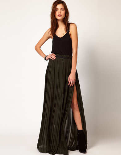 Diesel Pleated Maxi Skirt With Thigh Split