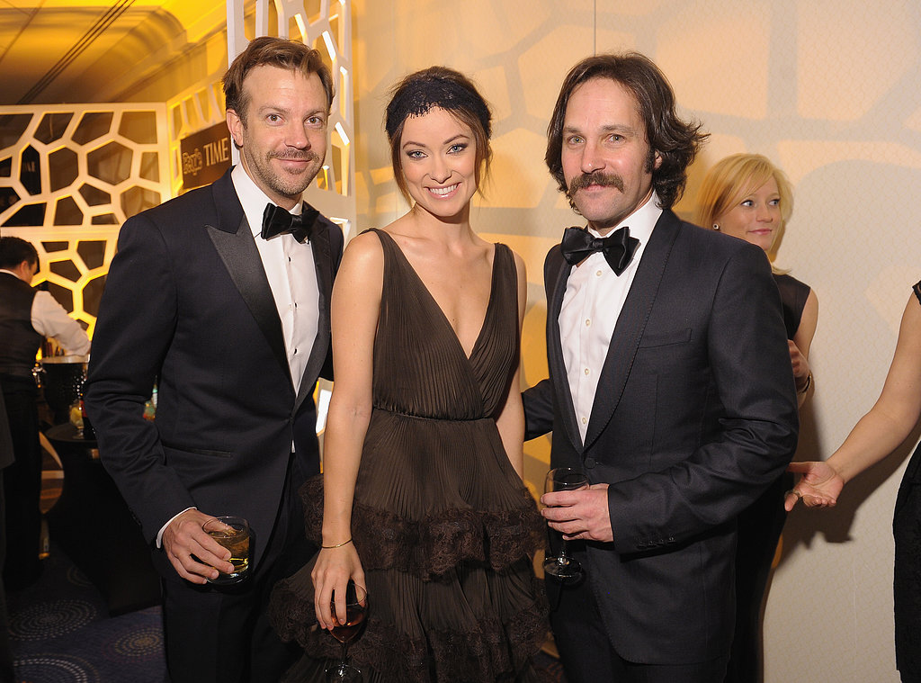 Jason Sudeikis, Olivia Wilde, and Paul Rudd had a cocktail at CNN's Saturday pre-dinner event.