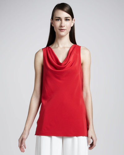 Lafayette 148 New York Misha Matte Silk Cowl-Neck Top