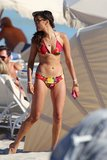 Nina Dobrev wore a printed bikini in Miami in April 2013.