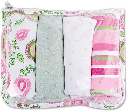 Trend Lab Paisley Park Zipper Pouch and 4 Burp Cloths Gift Set - Pink