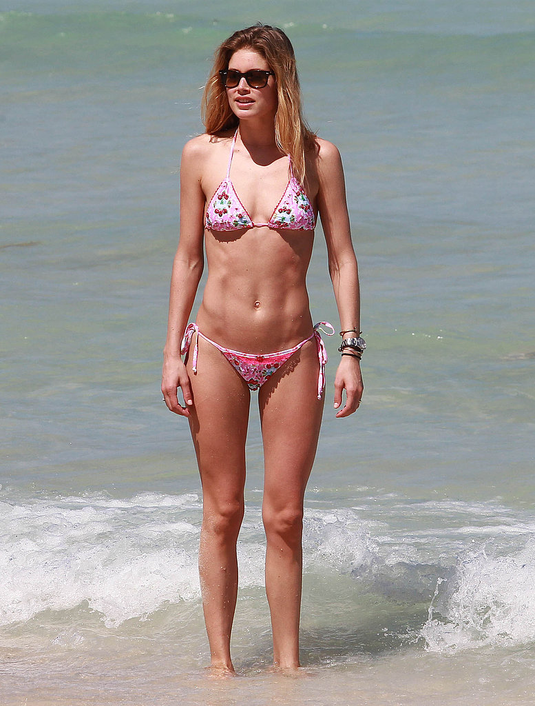 Doutzen Kroes hit the beach in Miami in a string bikini.