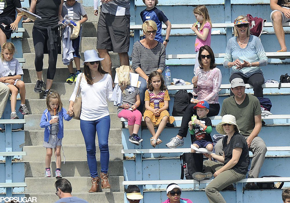 Jennifer Garner took Seraphina Affleck to her track meet.