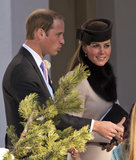 For a wedding in Switzerland, the couple wore respective chic wares. We particularly love her circle hat and fur scarf.