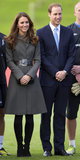 At the launch of the National Football Centre, Kate Middleton belted a moss-colored coat with a wide croc-print belt.