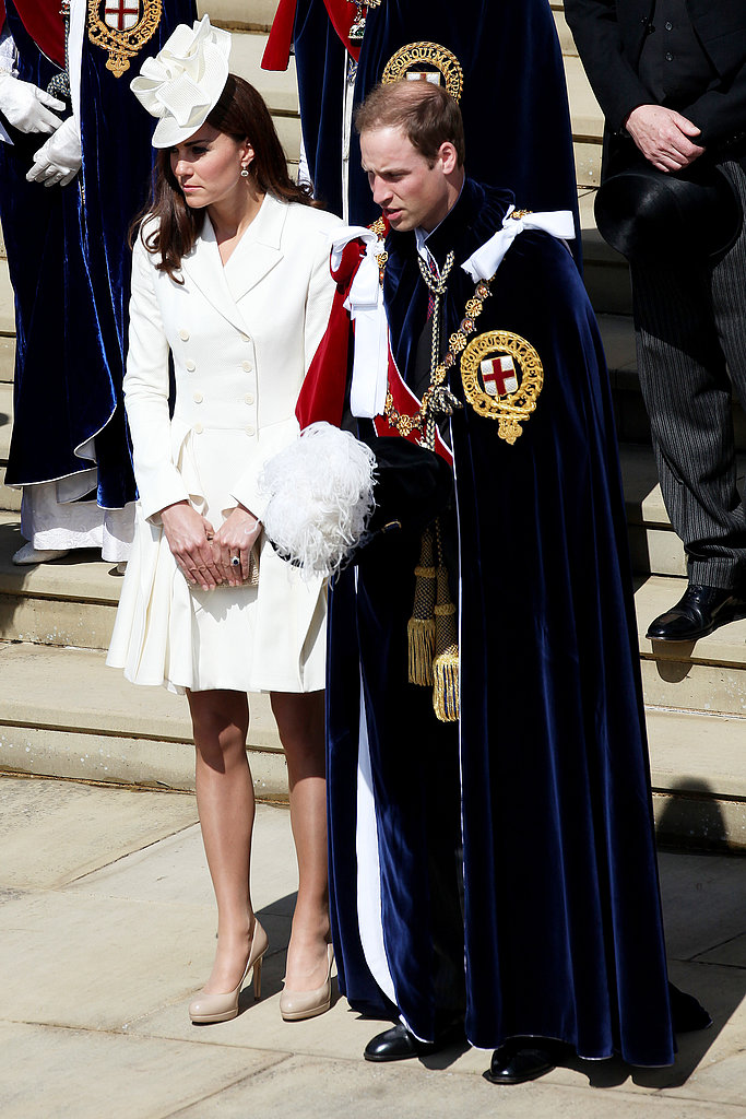While Prince William's attire was much more suited to the event at hand, Kate Middleton looked chic in white Alexander McQueen at the Order of the Garter service.