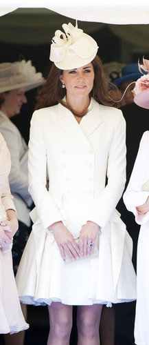 Her fitted Alexander McQueen coatdress and Jane Corbett hat provided a sleek white finish to the Order of the Garter service.