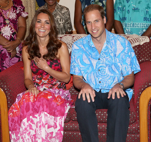 The couple posed in matching tropical-print ensembles, both from local Soloman Island designers.