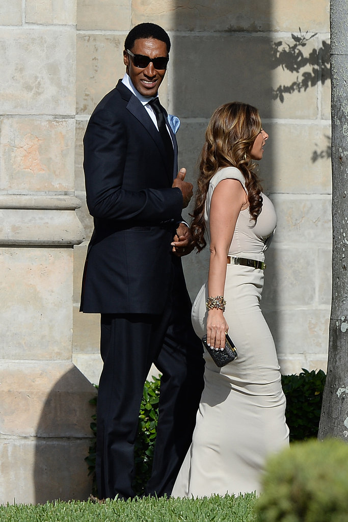 Scottie and Larsa Pippen arrived for Michael Jordan and Yvette Prieto's nuptials.