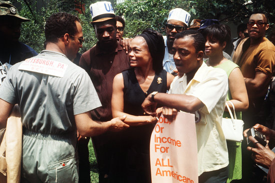 Popular singer Eartha Kitt showed her support at the Poor People March.